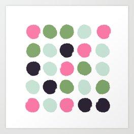 Painted dots minimal colorful pattern polka dots nursery baby decor Art Print