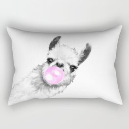 Bubble Gum Sneaky Llama Black and White Rectangular Pillow