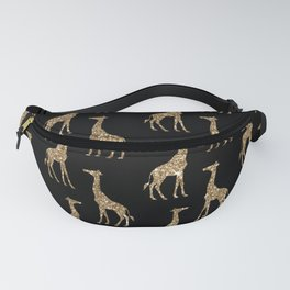 Black Gold Glitter Giraffe Pattern Fanny Pack