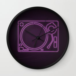 Neon Turntable 1 - 3D Art Wall Clock
