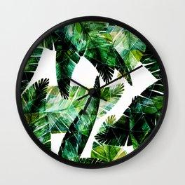 Green leaves of a banana. 2 Wall Clock