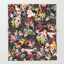 Floral and Pin-Up Girls IV Throw Blanket