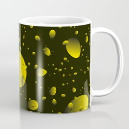 Large yellow drops and petals on a dark background in nacre. Coffee Mug
