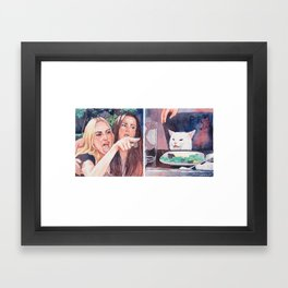 Woman Yelling at Cat Framed Art Print