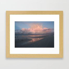 Morning Walk on the Beach Framed Art Print