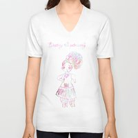 patriarchy V-neck T-shirts featuring destroy the patriarchy (pretty feminist) by Adam M. Snowflake