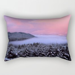 Pink Sunrise With Foggy River Rectangular Pillow