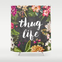 hibiscus Shower Curtains featuring Thug Life by Text Guy