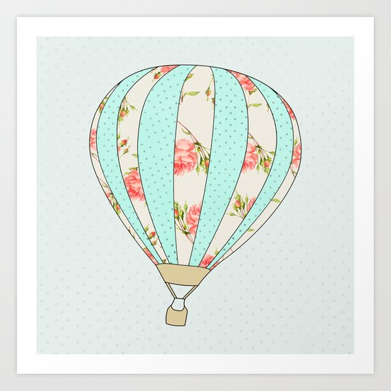 Let's fly away together - Hot air balloon Art Print