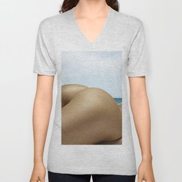 Nude Sunbathing on the Beach Unisex V-Neck