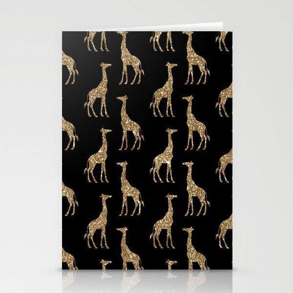Black Gold Glitter Giraffe Pattern Stationery Cards