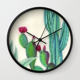 Desert Calm - Blooming Cactus painting by Ashey Lane Wall Clock