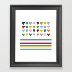 Hearts Stripes Framed Art Print