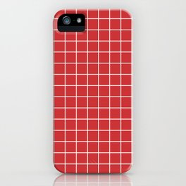Madder Lake - red color -  White Lines Grid Pattern iPhone Case