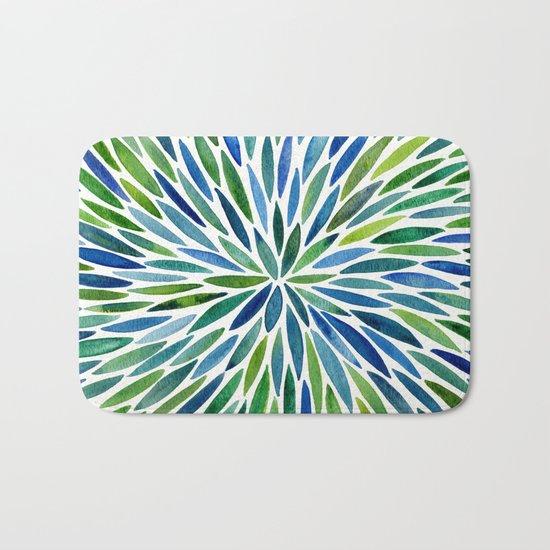 Watercolor Burst – Blue & Green Bath Mat