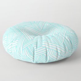 Sketchy Abstract (Aqua & White Pattern) Floor Pillow