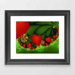 Dancing Red Hearts Fractal Art Framed Art Print