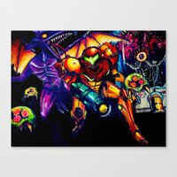 metroid Canvas Prints featuring METROID  by Modern8bit