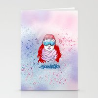 snowboarding Stationery Cards featuring I LOVE SNOWBOARDING  by Ylenia Pizzetti