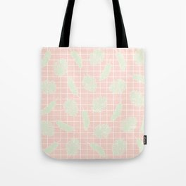 Graphic Tropical Leaves on Grid Pink and Mint Green Tote Bag