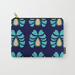 Morocco handdrawn Art : Ethno Flowers blue Carry-All Pouch