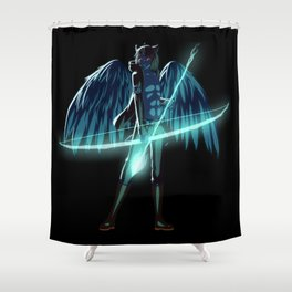Luc Ready for Battle (Black/Dark Background) Shower Curtain
