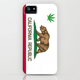 California Republic state flag with green Cannabis leaf iPhone Case
