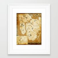 westeros Framed Art Prints featuring Fantasy Map of New York: Gold Parchment by Midgard Maps