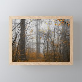 The Grey and the Yellow - Moody Forest in Fal Framed Mini Art Print