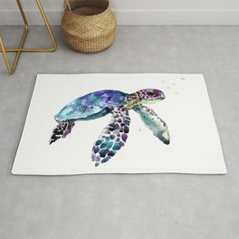 Sea Turtle, Baby Turtle animal artwork for children Rug
