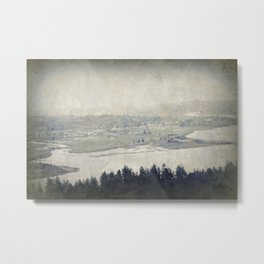 antiqued view from the Astoria Column Youngs Bay Metal Print