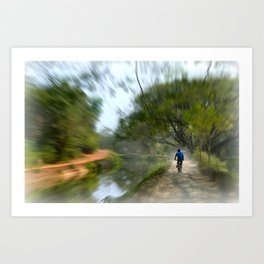 Epic Shot Cycling The Canal Route In Kerala, India Art Print