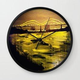 Memphis Skyline at Night Wall Clock