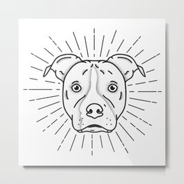 Radiant Dog Print - Black and White Metal Print