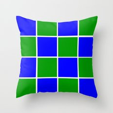 Blue and Green Squares Throw Pillow