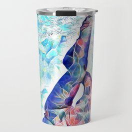 3047-JPC Abstract Nude in Blue Green Yoga Stretch Feminine Power Travel Mug