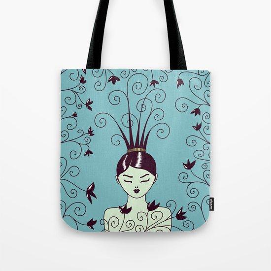 Strange Hair And Flowery Swirls Tote Bag