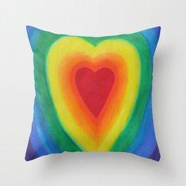 Rainbow Heart Love with Purple Throw Pillow
