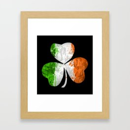 Irish Tricolour Shamrock Framed Art Print