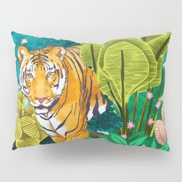 Jungle Tiger Painting, Tropical Nature Palms Wildlife Animals Cats Illustration Pillow Sham