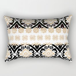 Elegant black faux gold chic glitter floral motif Rectangular Pillow