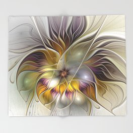 Abstract Fantasy Flower Fractal Art Throw Blanket