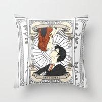 harry potter Throw Pillows featuring Harry Potter Tarot by Luke Eckstein
