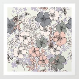 Flower vintage design with wild roses in english style Art Print