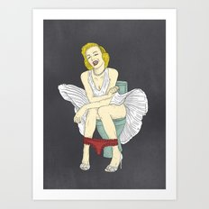 Famous in Bathroom - Marylin Moroe Art Print