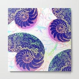Flamboyant Colorful Sea Shells Illustration Metal Print