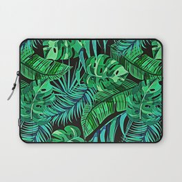 Blue and Green Ferns and Tropical Leaves Laptop Sleeve