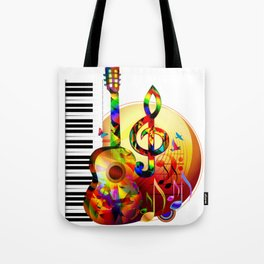 Colorful  music instruments painting, guitar, treble clef, piano, musical notes, flying birds Tote Bag