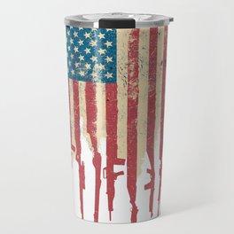 Distressed USA American Flag Made of Guns and Rifles Travel Mug