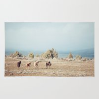 oregon Area & Throw Rugs featuring Oregon Wilderness Horses by Kevin Russ